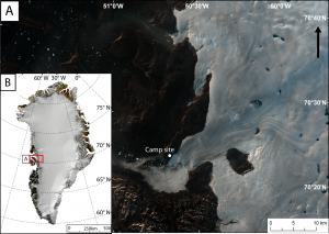 A) Landsat 8 true colour image of Store Glacier in August 2014 with the location of camp site. B) MODIS mosaic image of Greenland (Kargel et al., 2012, The Cryosphere) with location of Store Glacier which is situated in Uummannaq Bay.