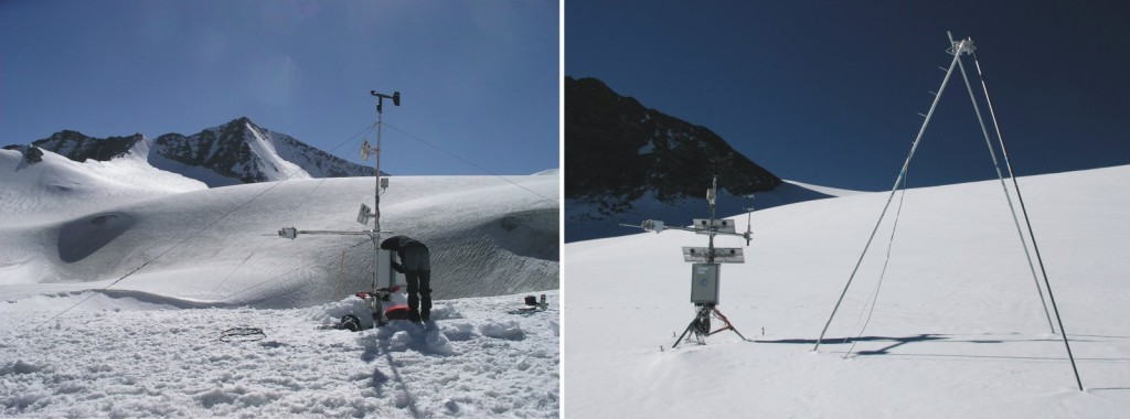 AWS at Zhadang glacier; left: 2009; right: after the ablation season in 2010. Credit: Christoph Schneider and Fabien Maussion.