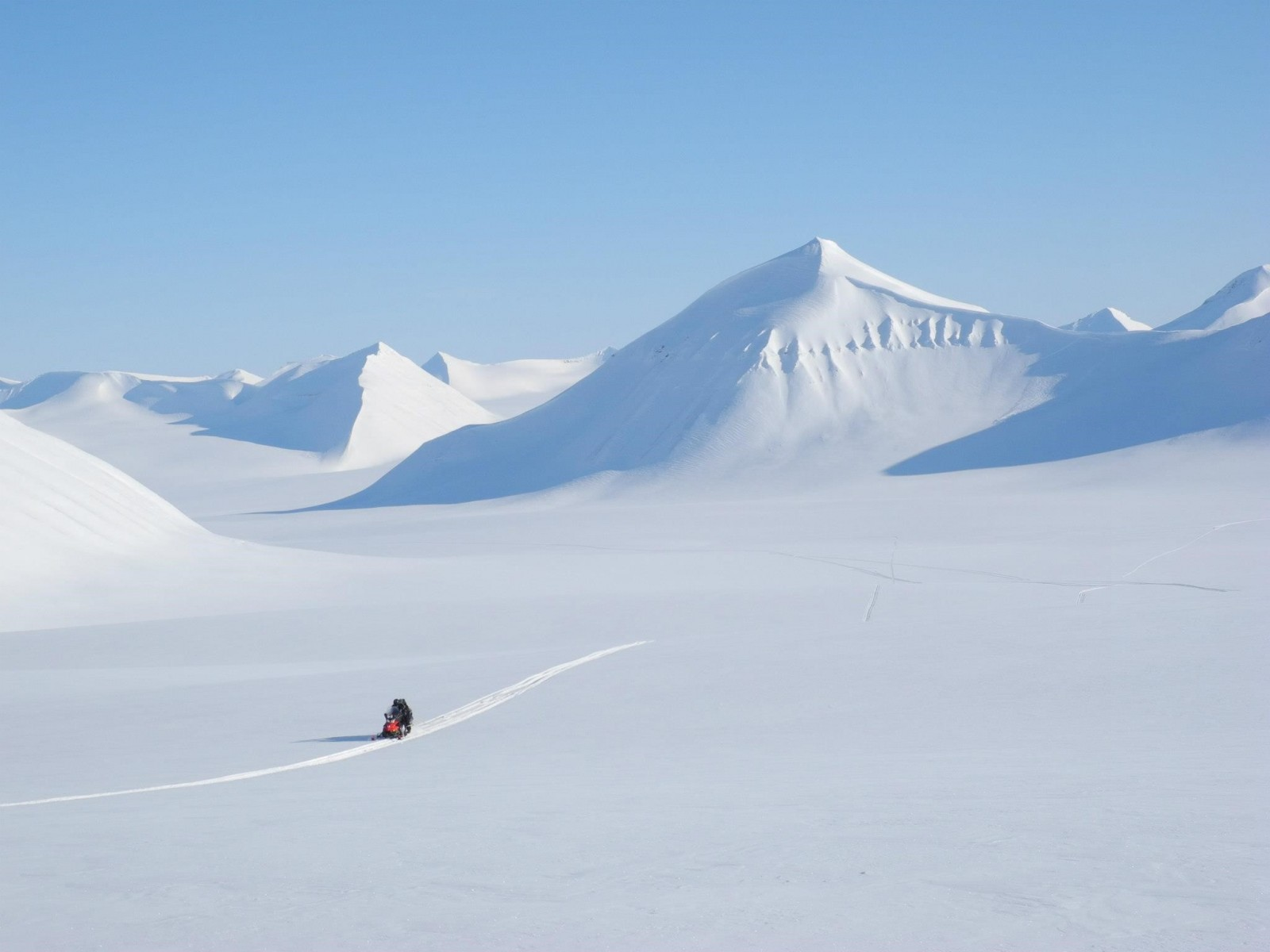 Driving in straight lines on a glacier in Svalbard = collecting GPR data (credits: Nick Hulton).