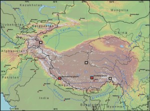 The Tibetan Plateau with location of the studied glaciers. The red stars mark the glaciers with in-situ measurements.