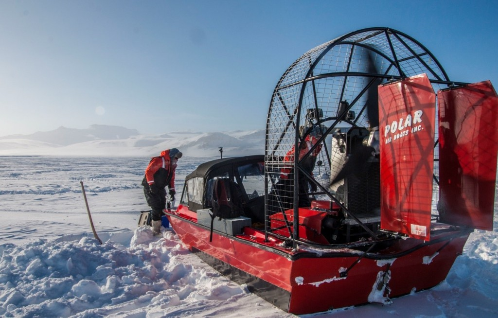 Figure 2: Our polar air-boat for safe and fast transportation on thin sea-ice. During the experiment this bad boy was typically referred to as a gasoline-to-noise converter. In this particular picture the air-boat is pictured on thick sea-ice, hence the use of normal winter clothing instead of marine safety suits. Photo: Jakob Sievers.