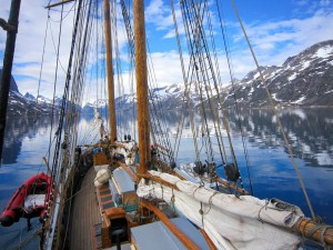 Sailing into one of many fjords on the south-east coast of Greenland. (Credit A.-K. Faber)