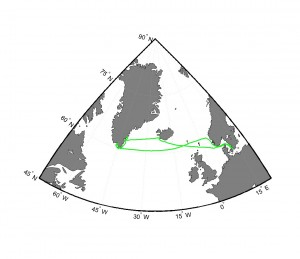 The route of the trip, plotted using linear interpolation of the measured GPS positions. (Credit M. Winther)