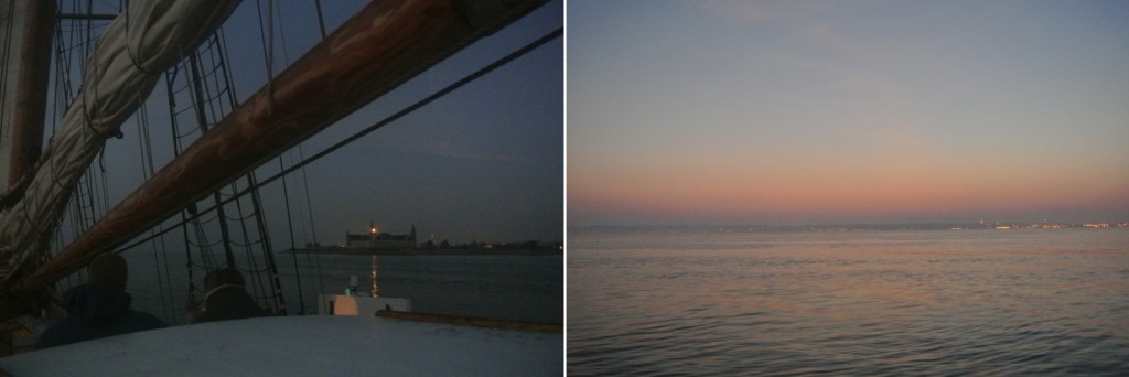 Left: The view of Kronborg as seen from the Captains view. (Credit M. Winther). Right: Sun rise as sailing in the North-sea. (Credit M. Winther)