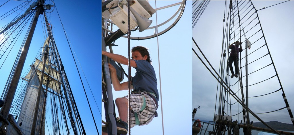 "Left: The mizzen mast with the top inlet just above the navigation systems. Center: The ""arm"" with the second inlet attached. Right: Installation/reparation of the top inlet required harness ect. (Credit A.-K. Faber and M. Winther)"