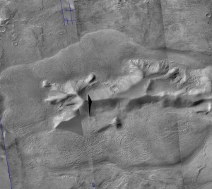 CTX imagery of a glacier surrounding a central massif. Credit: CTX/JMars.