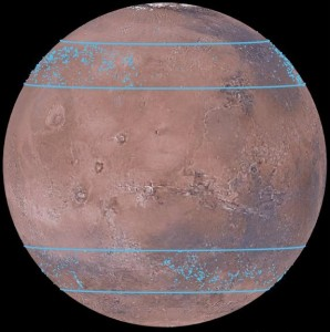 More than 10,000 water ice bodies (blue dots) have been found between 30 and 50 degrees (blue lines). Credit: Mars Digital Image Model, NASA/J. Levy/Nanna Karlsson
