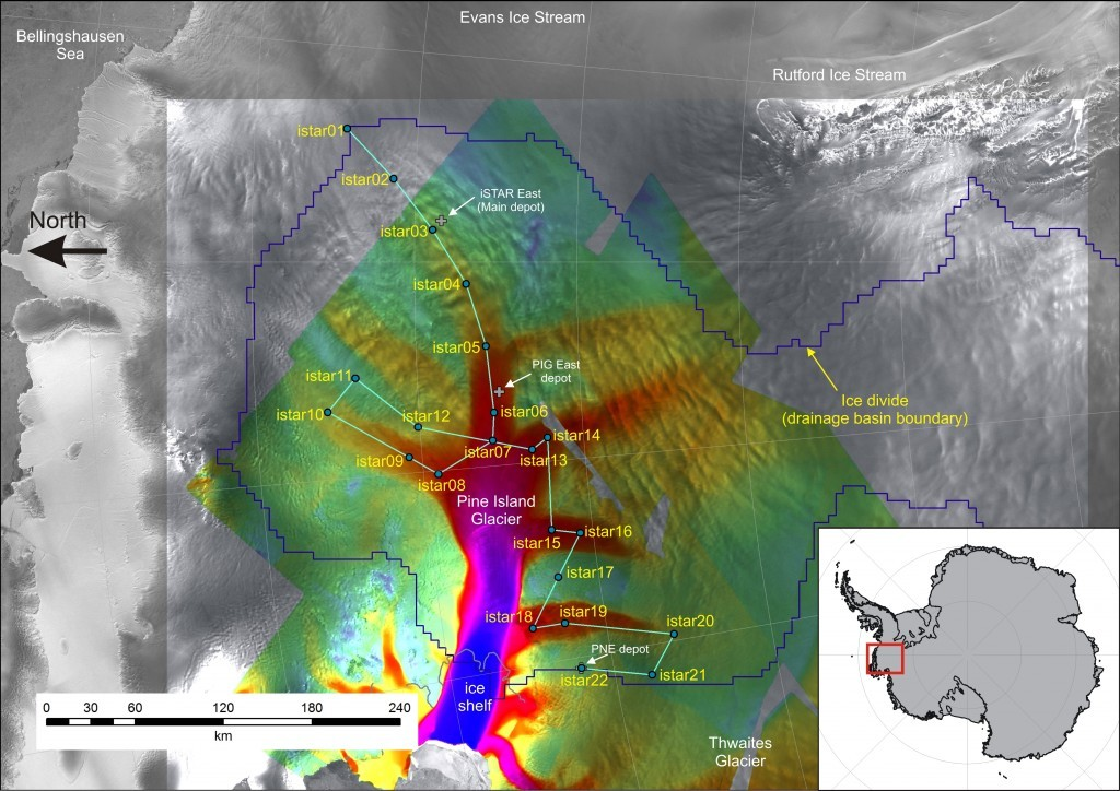 The route of the iSTAR traverse of Pine Island Glacier, West Antarctica (credit: www.istar.ac.uk).
