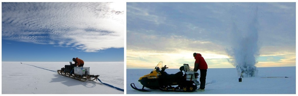 Operating the ice penetrating radar (left) and firing explosives for seismic surveys (right) (credit: Damon Davies).