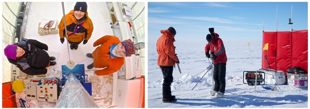 Rob, Becky and Emma inside the ice core drilling tent (left), Damon and Andy working at a Neutron Probe site (right) (credit: Alex Taylor).