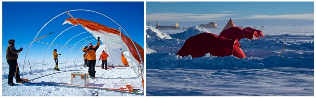 Setting up the drilling tent (left). iSTAR accommodation (right) (credit: Alex Taylor).