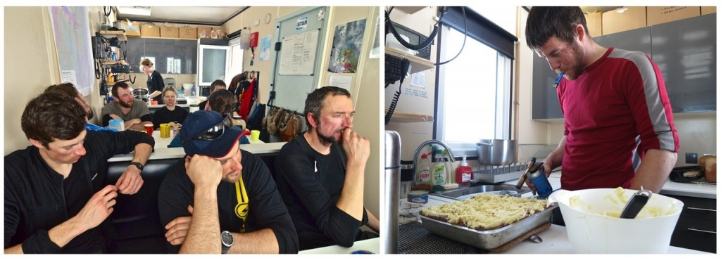 Dinner-time in the caboose (left) (credit: Alex Taylor). James finishing off a cottage pie with a blow torch (right) (credit: Damon Davies).