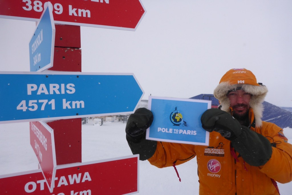 Pole to Paris flag at the North Pole