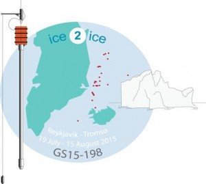 The ice2ice cruise logo, where the red dots indicate the more than 30 sites of coring marine sediments under the ice2ice cruise. Photo credit: Amandine Tisserand