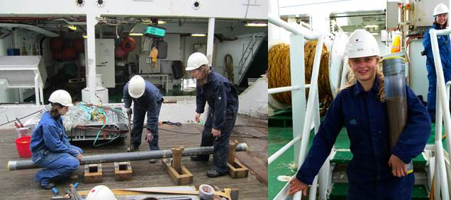 Ashley, Margit and Ida cut a gravity core into sections (left), while Alby brings a multicore from the deck down to the lab (right). Photo credit: Dag Inge Blindheim and Kerstin Perner.