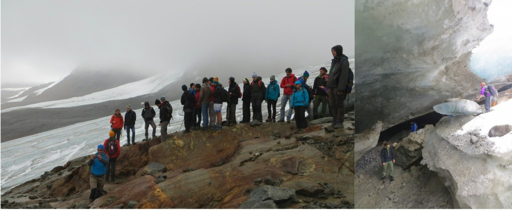 Excursion to the Hochjochferner Glacier (left). Getting a closer look of the glacier (right). (Credit : I. Nias)