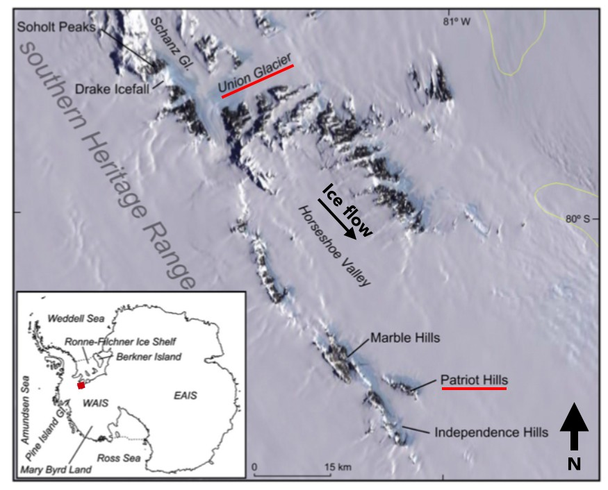 Map showing the Patriot Hills and Union Glacier. It took about 20 minutes for the Twin Otter to reach the Patriot Hills from Union Glacier base. (Credit: H. Millman)