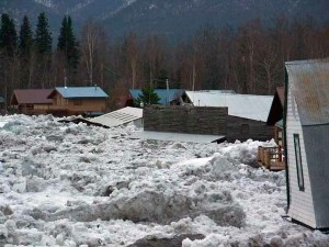 Ice and floodwater inundate a town in Alaska because an ice jam formed downstream (credit: U.S. National Park Service on Wikimedia Commons)