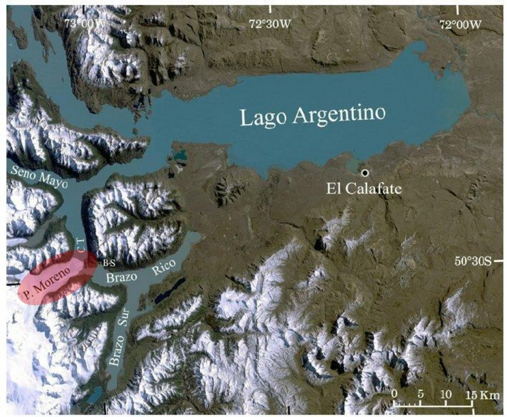 Figure 2: Landsat 5 image (Mar. 21, 2001) showing Glacier Perito Moreno (red) and the surrounding area. Adapted from Naruse and Skvarca, 2012 .