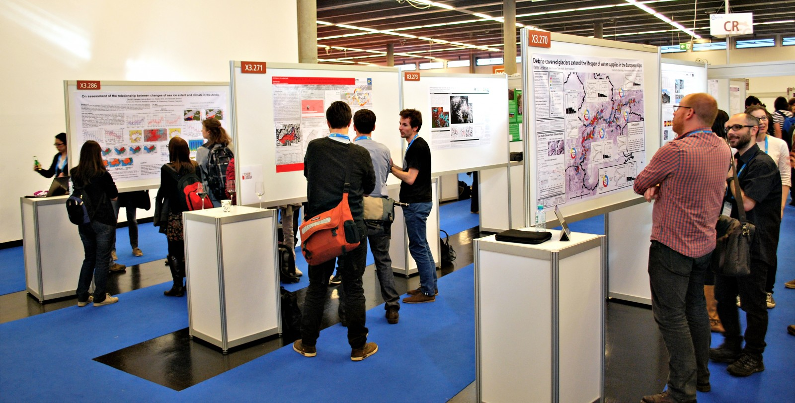 A cryosphere poster session at the 2016 EGU General Assembly. Photo Credit: Kai Boggild.