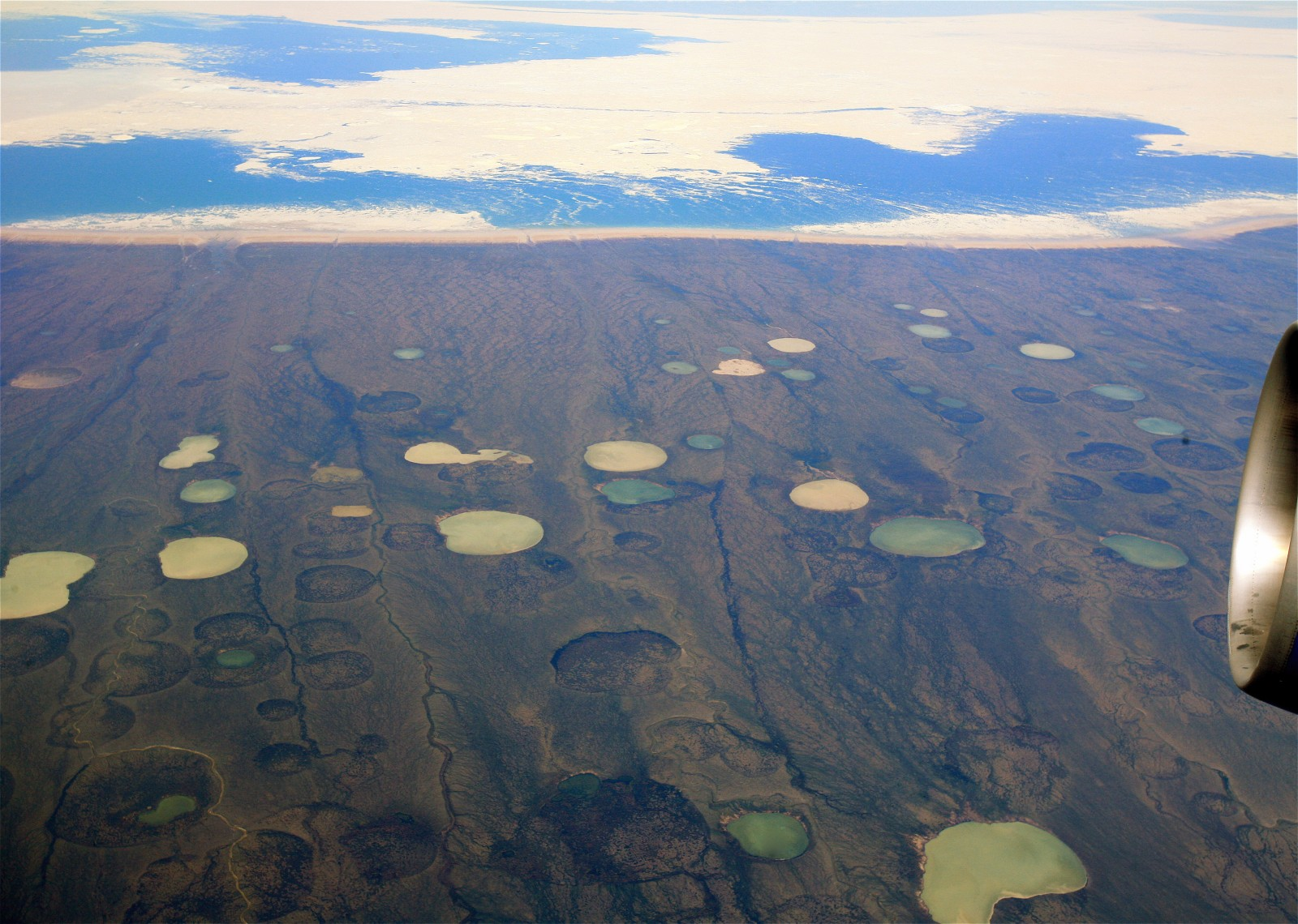 Figure 2: Permafrost thaw ponds in Hudson Bay Canada (taken from Wikimedia )