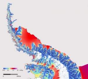 Ice Sheet velocity across the Antarctic peninsula derived from Sentinel 1 data from December 2014 to March 2016. Image Credit ESA and ENVEO: http://www.esa.int/spaceinimages/Images/2016/05/Antarctic_Peninsula_ice_flow