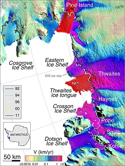 Figure 2: Ice velocity of the glaciers in the Amundsen Sea Embayment, West Antarctica, using ERS-1/2 radar data in winter 1996. The grounding line (boundary between ice sheet and ice shelf) is shown for 1992, 1994, 1996, 2000 and 2011 (source: Fig. 1 of Rignot et al., 2014 ).
