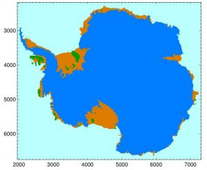 Figure 3: Antarctic map of ice sheet (blue), ice shelves (orange) and islands/ice rises (green) based on satellite data (ICESat and MODIS). The grounding line is the separation between the ice sheet and the ice shelves. Units on X and Y axes are km (source: NASA ).