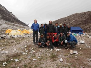 The team at our base camp at Imja Lake [Credit: D. Rounce]