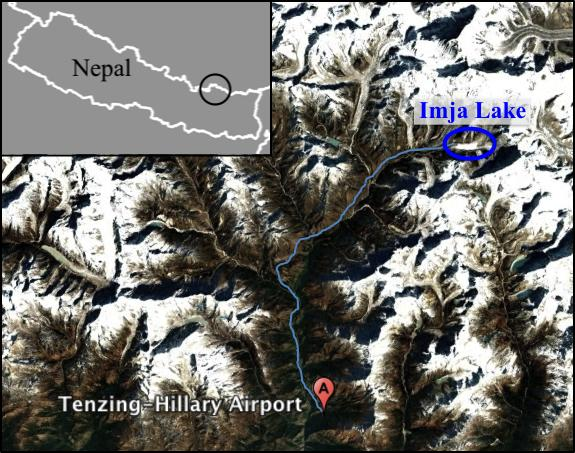 The 8-day trek from Lukla to Imja Lake [Credit: GoogleEarth]