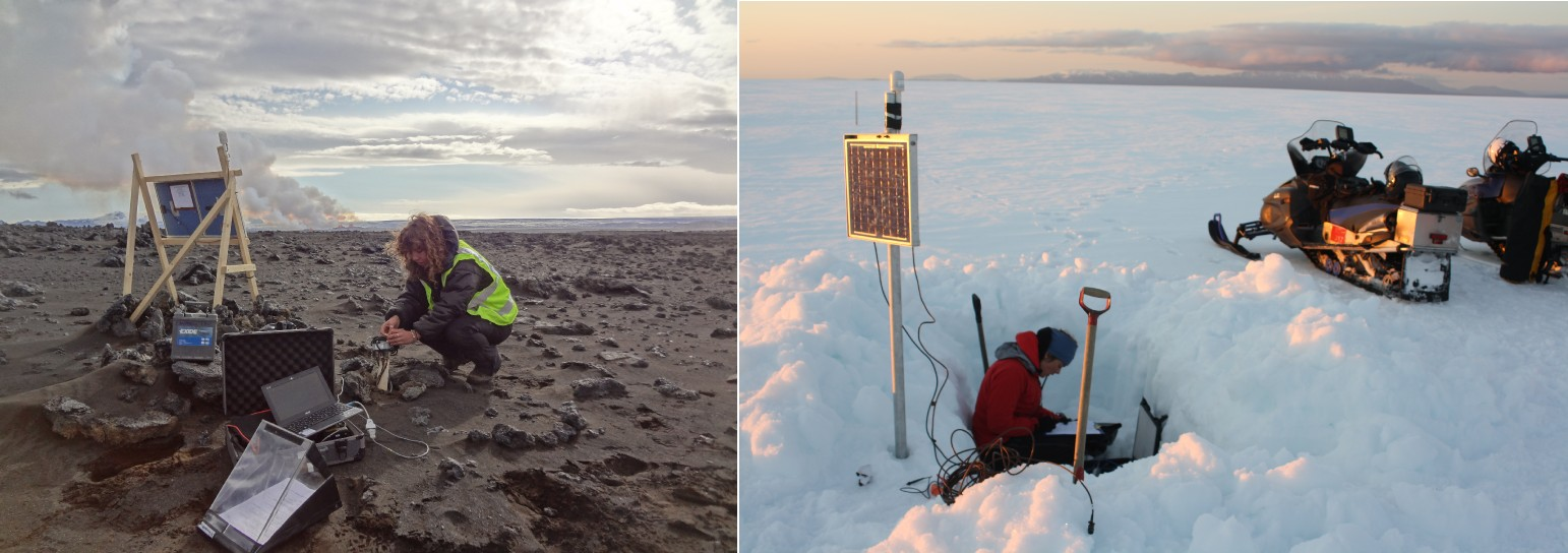 Installing seismometers in a variety of locations around Iceland to monitor tiny earthquakes from magma movement under the surface