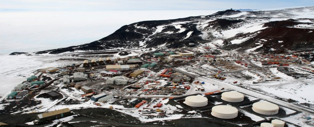Mc Murdo Station on Ross Island (West Antarctica). The station is operated by the US Antarctic Program and can accommodate up to 1,000 people. [Credit: Gaelen Marsden on Wikimedia Commons]
