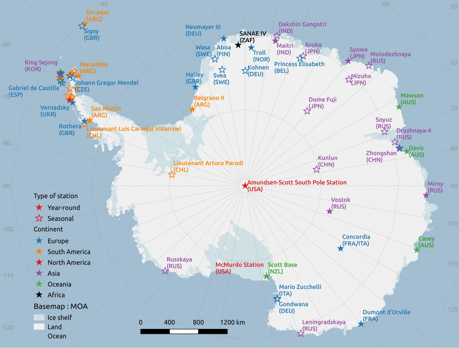 Cryospheric Sciences Antarctic Treaty - Antarctic research stations map