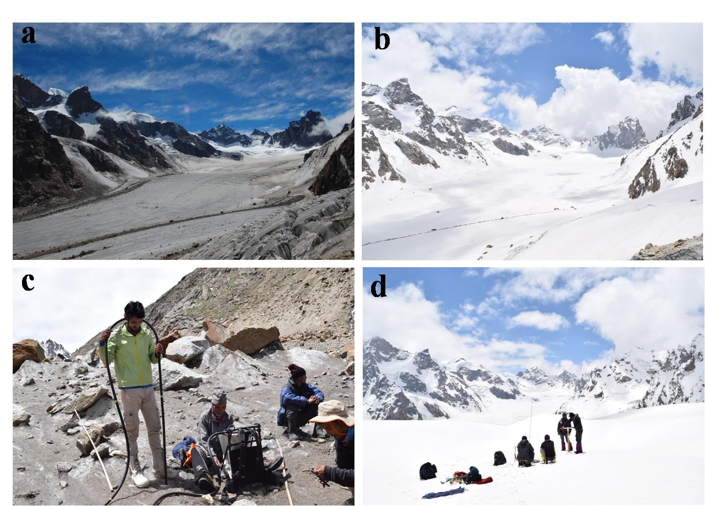 Long term monitoring on Chhota Shigri Glacier (a) accumulation zone at the end of summer (area is largely covered in dust with clearly visible medial moraine . (b) accumulation zone at the end of winter (fresh snow cover), (c) ablation stake (bamboo) installation in a partly debris covered region during the summer and, (d) drilling of snow core at top of the glacier during winter (Credit: Arindan Mandal/JNU).