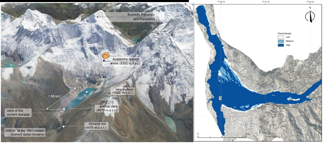 Overview of the avalanche, lake, and terminal moraine (left) and the potential inundation downstream based on the current level of the lake (right) performed by the University of Texas at Austin. [Credit: fig 2 and 10 from Somos-Valenzuela et al., (2016)] LINK: http://www.hydrol-earth-syst-sci.net/20/2519/2016/ .