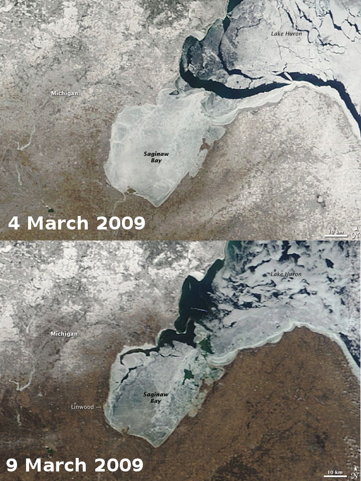 Modis satellite images of Lake Huron, Michigan before (top) and after (bottom) strong winds broke up the ice on the lake and caused an ice shove on Linwood. [Credit: NASA earth observatory]