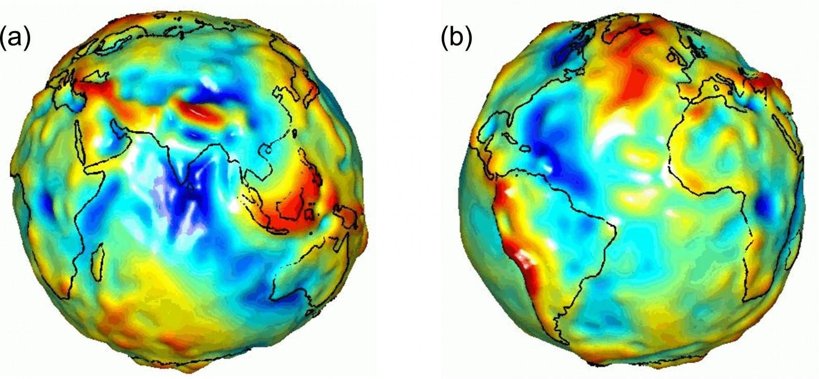 Fig 3: Geoid shape centred in (a) India and (b) the Atlantic Ocean as measured by the NASA satellite GRACE. What is red is above the Earth Ellipsoid (Fig. 2) and blue below.