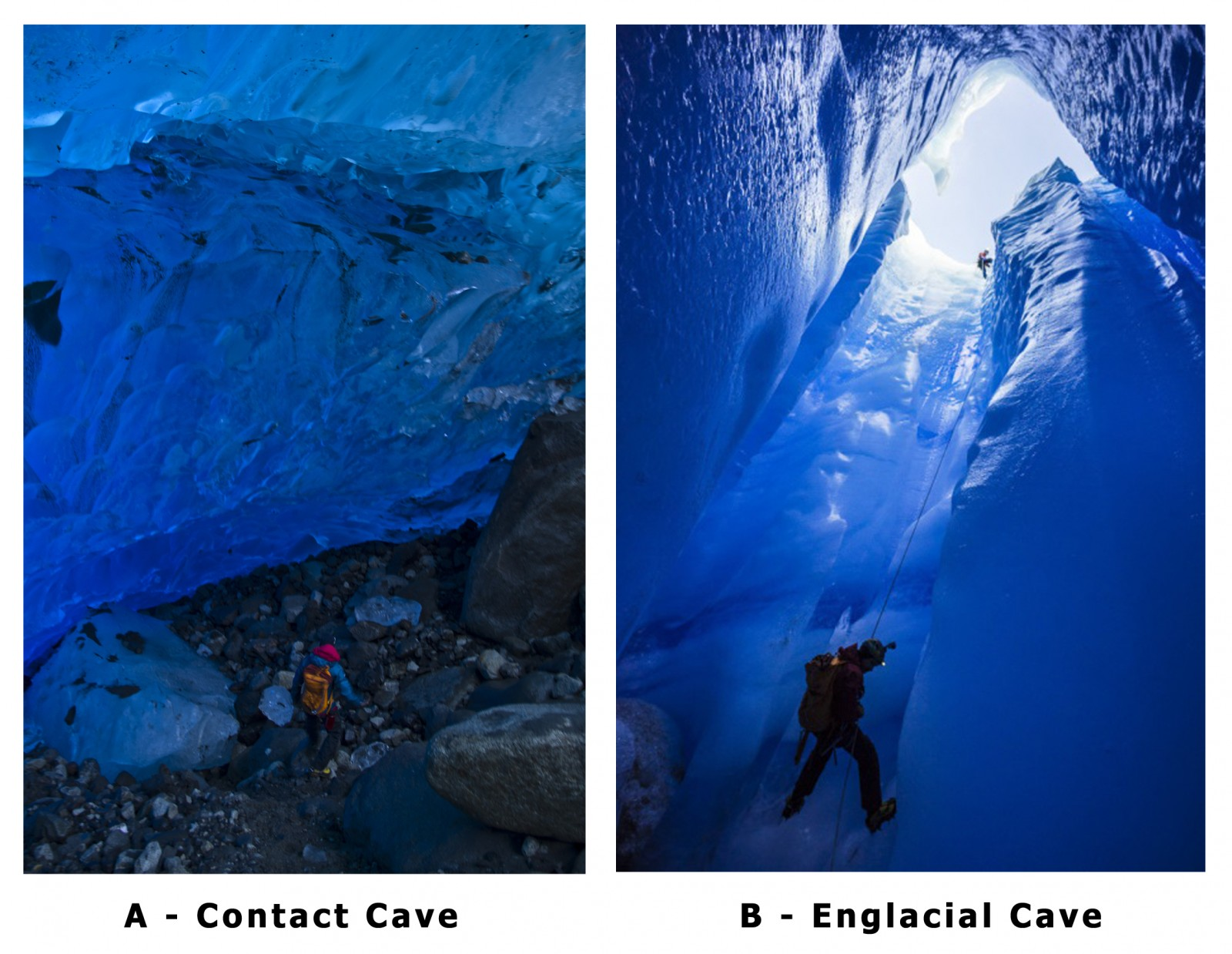 Figure 2: Two different types of caves explored on the Grey Glacier. A- Contact formed between the glacier bed and overlying ice [Credit: Tommaso Santagata]. B- Entrance to an englacial cave [Credit: Alessio Romeo/La Venta].