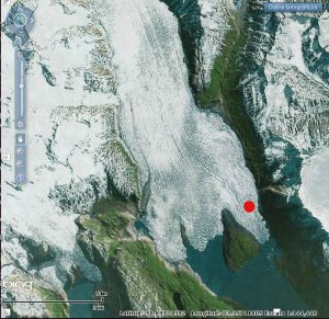 Figure 3: Map of Grey Glacier with survey site of 2004 and 2016 indicated by red dot [Adapted from: Instituto Geografico Militar de Chile ]