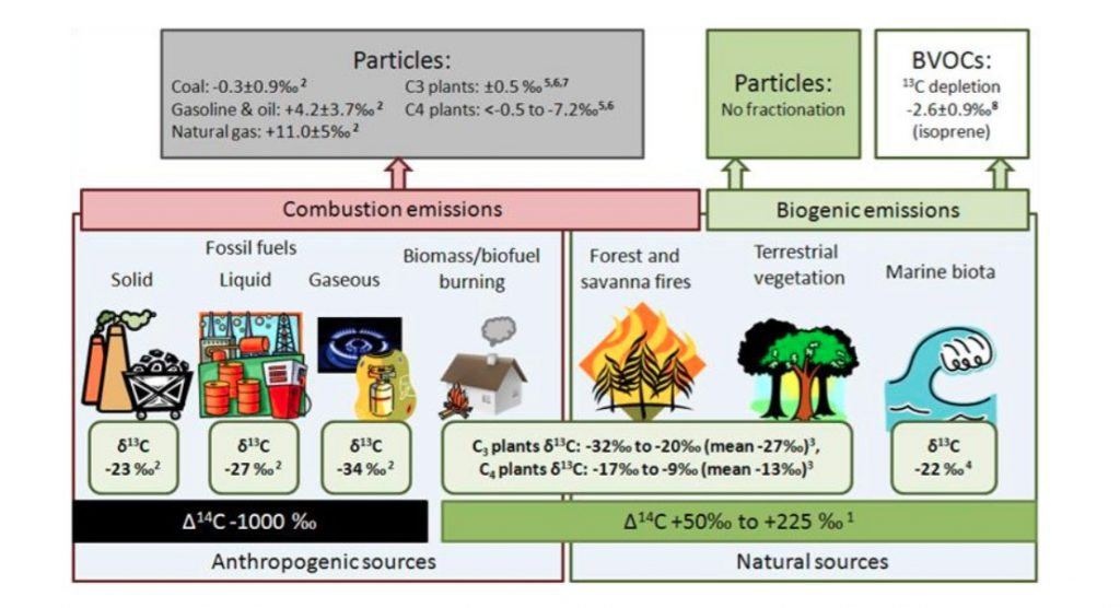 Figure 5/ Carbon isotopic signatures of different BC sources, summarized by E.N. Kirillova (2013).