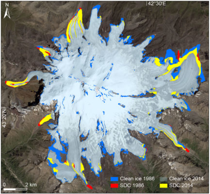 Does debris cover offset glacier retreat in the Greater Caucasus?