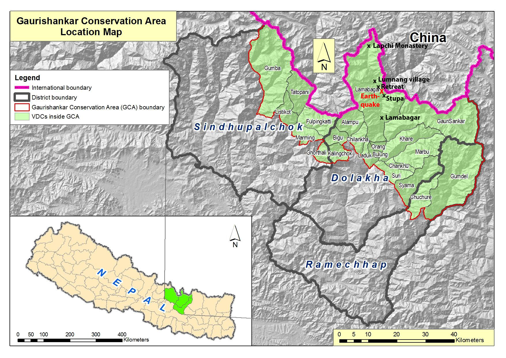 Map of Gaurishankar Conservation area (GCA) including respective Village Development Committees (VDC's) and localities within the Tamakoshi River valley that are mentioned in this post.