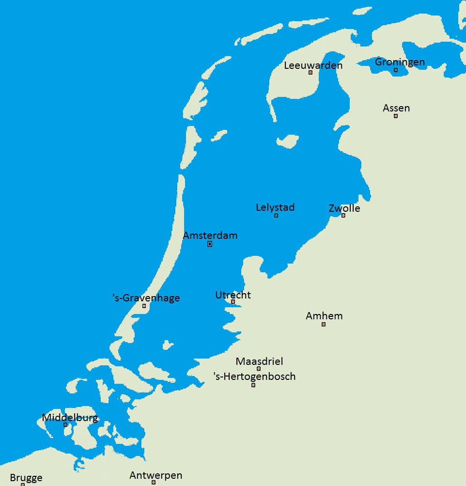 Without dikes, this part of the Netherlands would be flooded.  Credit:  Wikipedia