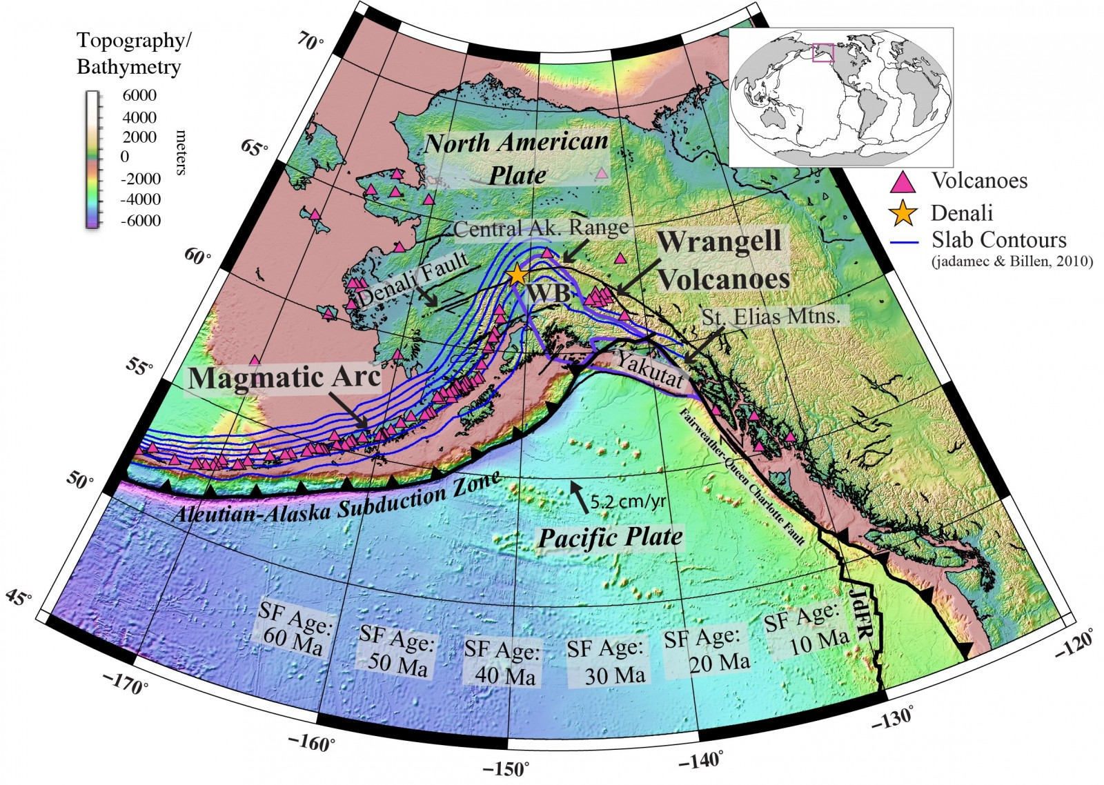 figure 1 tectonic map of alaska modified from haynie and jadamec 2017 topographybathymetry is from smith and sandwell 1997 and seafloor sf ages are
