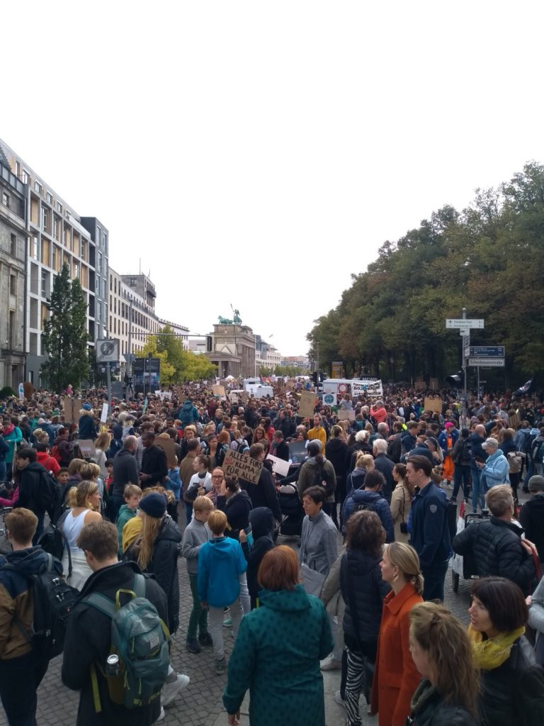 Protestors on their way to the Brandenburg Gate in Berlin.