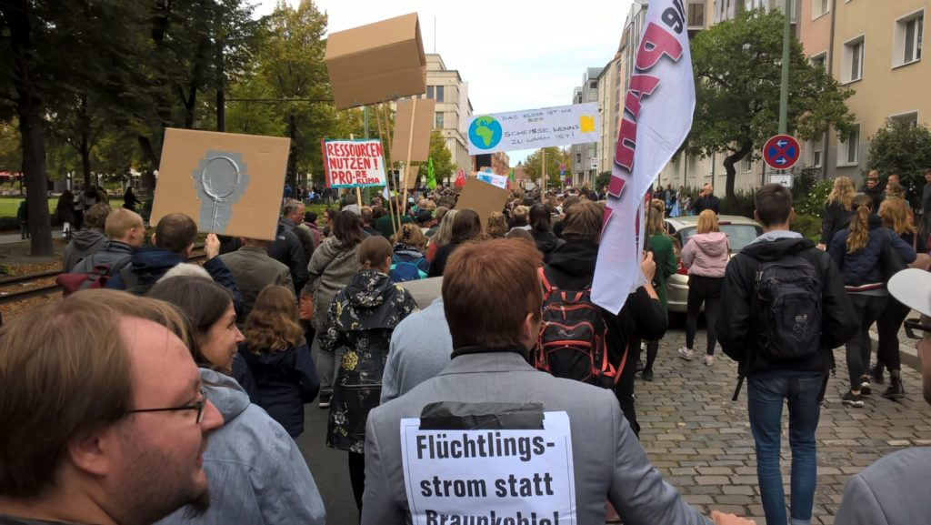 Protesters walking through Potsdam's city centre.