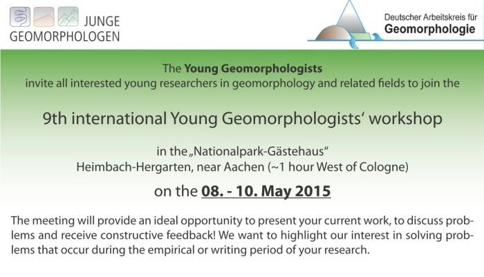 9th international Young Geomorphologists' Workshop
