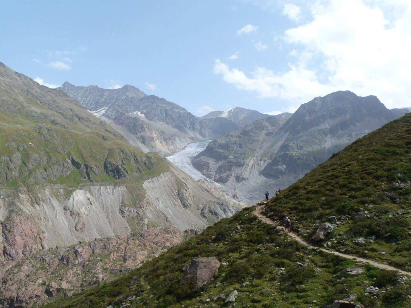 Trail leading to Gepatschferner (in the distance), along the 1850 lateral moraine surface (Image credit: Ciara Fleming).