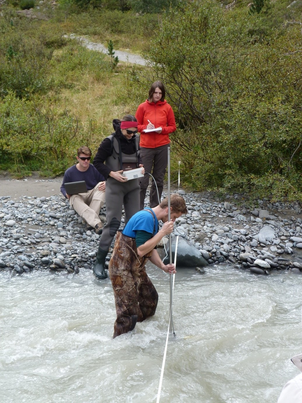 Measuring turbidity in the water column of the Riffler Creek, a tributary of the River Fagge (Image credit: Ciara Fleming).