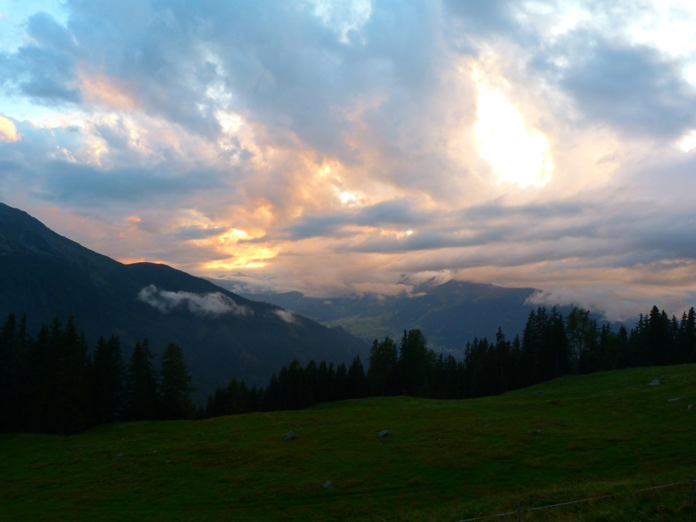 Sunset view over the Alps from Falkaunsalm, an Alpine hut outside Feichten (Image credit: Ciara Fleming).